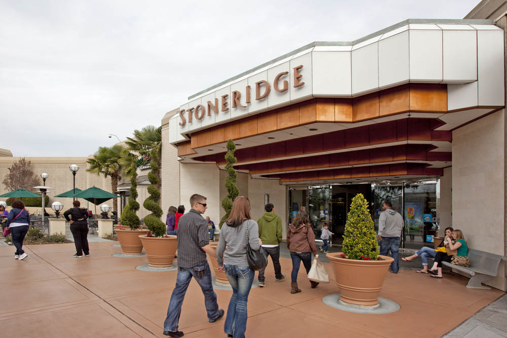 Stoneridge Shopping Center is conveniently located at the intersection of I and I in Pleasanton, and across the street from the West Dublin/Pleasanton Bart station. Complimentary parking is located just steps from each mall entrance.